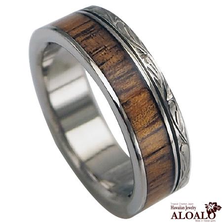 ハワイアンジュエリー リング コアウッド チタンリング メンズ レディース 指輪 刻印 alamea ハワイアンコア 6mm 7号-21号