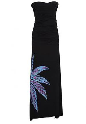 フラ ハワイアンドレス ハワイアンワンピース マカマカ Ti Leaf Gather ドレス(ブラック) レディース