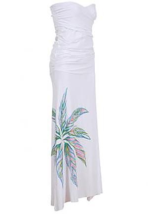 フラ ハワイアンドレス ハワイアンワンピース マカマカ Ti Leaf Gather ドレス(ホワイト) レディース