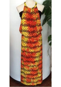 フラ ハワイアンドレス ハワイアンワンピース マカマカ フラダンス衣装やカジュアルでも Pua Tie-Dye ロングドレス(オレンジ) レディース