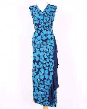フラ ハワイアンドレス ハワイアンワンピース マカマカ Plumeria ロングワンピース(ブルー) レディース