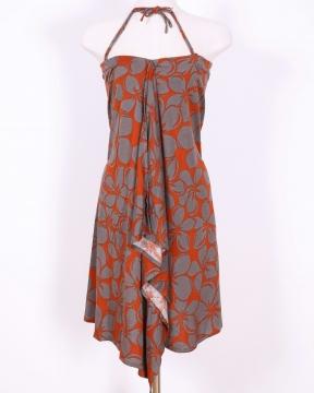 フラダンスの衣装やカジュアルでも ハワイアンドレス マカマカスタイル フラ 永遠の定番 ハワイアンワンピース レディース Plumeria 2wayスカート マカマカ 大規模セール オレンジ