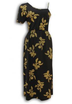 フラ ハワイアンドレス ハワイアンワンピース マカマカ ワンショルダードレス(ブラック) レディース