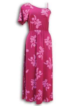 フラ ハワイアンドレス ハワイアンワンピース マカマカ ワンショルダードレス(ピンク) レディース