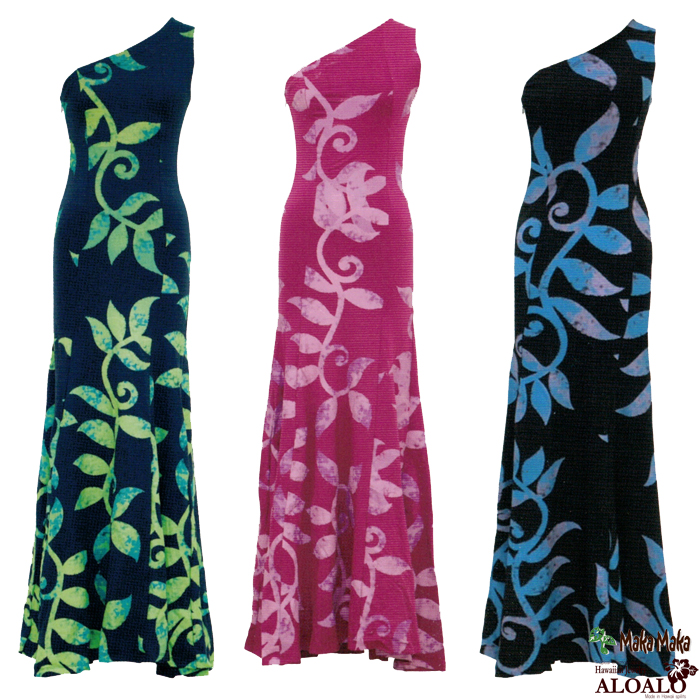 フラ ハワイアン ドレス ワンピース マカマカ カイラコレクション マイレ ダンスウェア レディース 4カラー