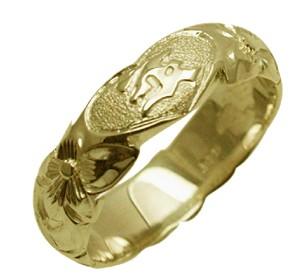 ハワイアンジュエリー リング 指輪 オーダーメイド お手軽な1.25mm厚 幅6mm 14K ゴールド グリーンゴールド ハートインイニシャル バレルリング ハワイ製 手彫りリング メンズ レディース 結婚指輪 マリッジリング ウェディングリング 2号-28号