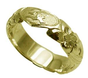ハワイアンジュエリー リング 指輪 オーダーメイド 重厚な立体感2mm厚 幅6mm 14K ゴールド グリーンゴールド ハートインイニシャル バレルリング ハワイ製 手彫りリング メンズ レディース 結婚指輪 マリッジリング ウェディングリング 2号-28号