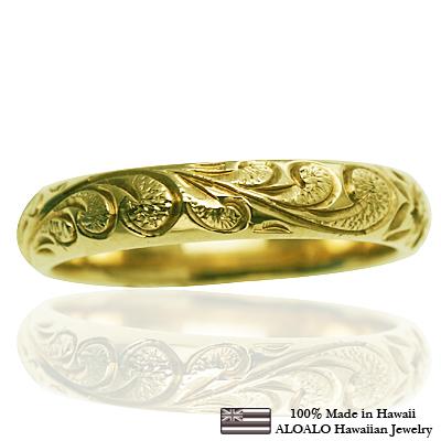ハワイアンジュエリー リング 指輪 オーダーメイド お手軽な1.25mm厚 幅4mm 14K ゴールド グリーンゴールド バレルリング ハワイ製 手彫りリング メンズ レディース 結婚指輪 マリッジリング ウェディングリング 2号-28号