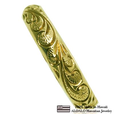 ハワイアンジュエリー リング 指輪 オーダーメイド 重厚な立体感2mm厚 幅4mm 14K ゴールド グリーンゴールド バレルリング ハワイ製 手彫りリング メンズ レディース 結婚指輪 マリッジリング ウェディングリング 2号-28号
