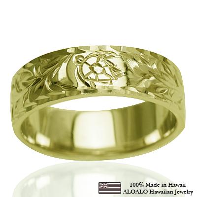 【刻印無料 ギフトラッピング無料】フラット薄1.0mm厚14金グリーンゴールド本格オーダーリング ハワイアンジュエリー リング 指輪 オーダーメイド お手軽な1.0mm厚 幅6mm 14K ゴールド グリーンゴールド フラットリング ハワイ製 手彫りリング メンズ レディース 結婚指輪 マリッジリング ウェディングリング 2号-28号