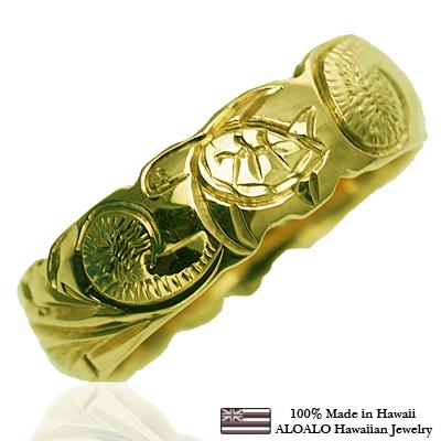 ハワイアンジュエリー リング 指輪 オーダーメイド バレルリング 重厚な立体感2mm厚 幅6mm 14K ゴールド グリーンゴールド ハワイ製 手彫りリング メンズ レディース 結婚指輪 マリッジリング ウェディングリング 2号-28号