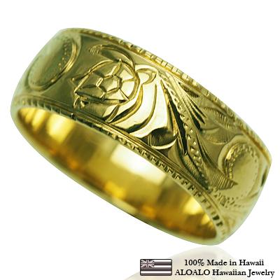 ハワイアンジュエリー リング 指輪 オーダーメイド しっかりした1.75mm厚 幅8mm 14K ゴールド グリーンゴールド バレルリング ハワイ製 手彫りリング メンズ レディース 結婚指輪 マリッジリング ウェディングリング 2号-28号
