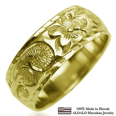 ハワイアンジュエリー リング 指輪 オーダーメイド お手軽な1.25mm厚 幅8mm 14K ゴールド グリーンゴールド バレルリング ハワイ製 手彫りリング メンズ レディース 結婚指輪 マリッジリング ウェディングリング 2号-28号