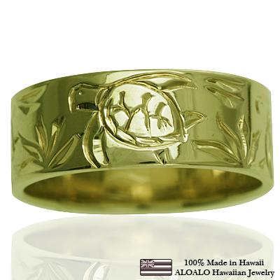 ハワイアンジュエリー リング 指輪 オーダーメイド お手軽な1.0mm厚 幅8mm 14K ゴールド グリーンゴールド フラットリング ハワイ製 手彫りリング メンズ レディース 結婚指輪 マリッジリング ウェディングリング 2号-28号