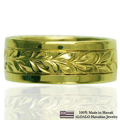 ハワイアンジュエリー リング 指輪 オーダーメイド しっかりした1.5mm厚 幅8mm 14K ゴールド グリーンゴールド スペシャルプレーンフラットリング ハワイ製 手彫りリング メンズ レディース 結婚指輪 マリッジリング ウェディングリング 2号-28号