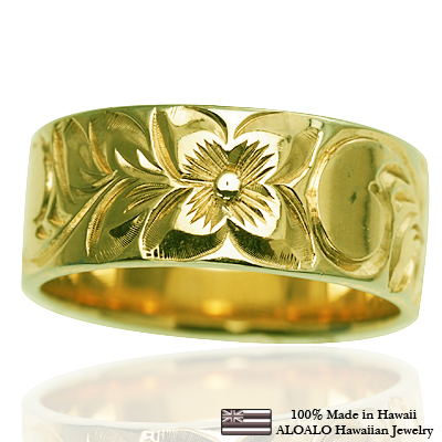 ハワイアンジュエリー リング 指輪 オーダーメイド お手軽な1 0mm厚 幅8mm 14K ゴールド グリーンゴールド フラットリング ハワイ製 手彫りリング メンズ レディース 結婚指輪 マリッジリング ウェディングリング 2号 28号b7gfvY6y