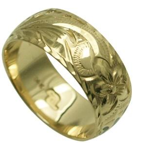 【刻印無料 ギフトラッピング無料】上品に1.75mm厚 14金グリーンゴールド本格オーダーリング ハワイアンジュエリー リング 指輪 オーダーメイド しっかりした1.75mm厚 幅8mm 14K ゴールド グリーンゴールド バレルリング ハワイ製 手彫りリング メンズ レディース 結婚指輪 マリッジリング ウェディングリング 2号-28号