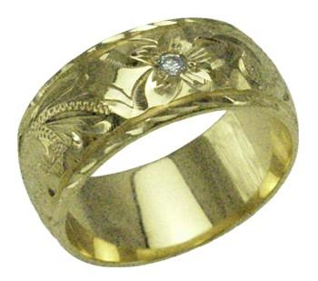 新作 ハワイアンジュエリー リング 指輪 オーダーメイド しっかりした1.75mm厚 幅8mm 14K ゴールド グリーンゴールド ダイヤモンドバレルリング ハワイ製 手彫りリング メンズ レディース 結婚指輪 マリッジリング ウェディングリング 2号-28号, TAG- cb1b3408