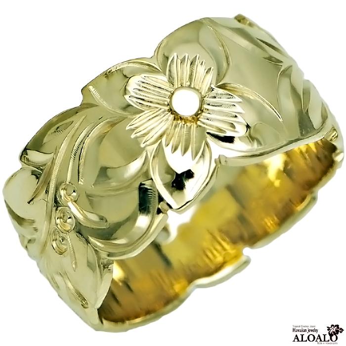 ハワイアンジュエリー リング 指輪 オーダーメイド バレルリング 1.5mm厚 幅10mm 14K ゴールド グリーンゴールド ハワイ製 手彫りリング メンズ レディース 結婚指輪 マリッジリング ウェディングリング 2号-28号