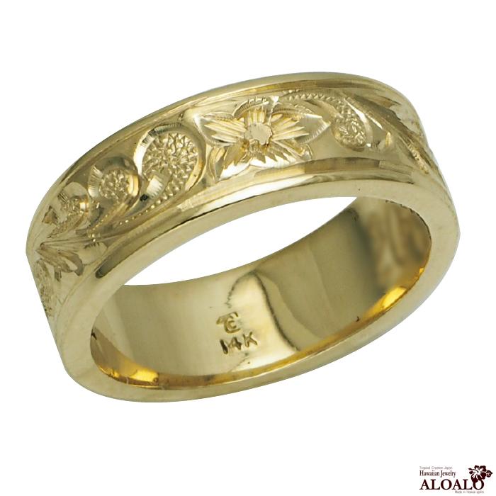 ハワイアンジュエリー リング 指輪 オーダーメイド お手軽な1.0mm厚 幅6mm 14K ゴールド グリーンゴールド フラットリング ハワイ製 手彫りリング メンズ レディース 結婚指輪 マリッジリング ウェディングリング 2号-28号