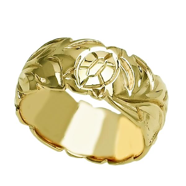 ハワイアンジュエリー リング 指輪 オーダーメイド しっかりした1.75mm厚 幅10mm 14K ゴールド グリーンゴールド バレルリング ハワイ製 手彫りリング メンズ レディース 結婚指輪 マリッジリング ウェディングリング 2号-28号