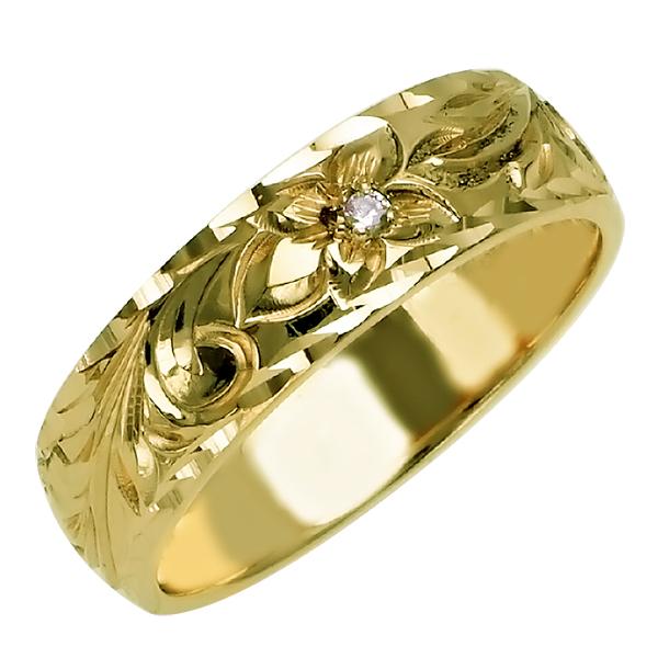 ハワイアンジュエリー リング 指輪 オーダーメイド 1.5mm厚 幅6mm 14K ゴールド グリーンゴールド ダイヤモンド バレルリングハワイ製 手彫りリング メンズ レディース 結婚指輪 マリッジリング ウェディングリング 2号-28号