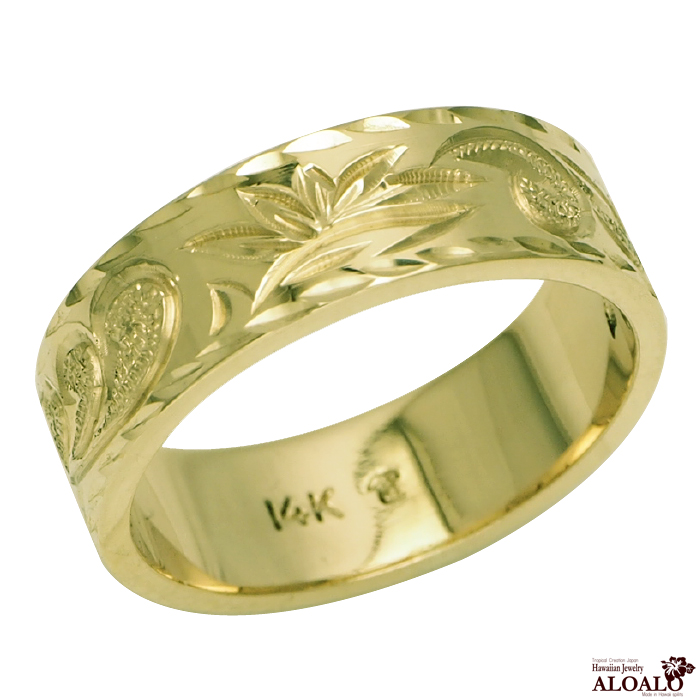 ハワイアンジュエリー リング 指輪 オーダーメイド フラットリング お手軽な1.0mm厚 幅6mm 14K ゴールド グリーンゴールド ハワイ製 手彫りリング メンズ レディース 結婚指輪 マリッジリング ウェディングリング 2号-28号