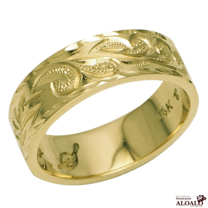 ハワイアンジュエリー リング 指輪 オーダーメイド 重厚な立体感2mm厚 幅6mm 14K ゴールド グリーンゴールド フラットリング ハワイ製 手彫りリング メンズ レディース 結婚指輪 マリッジリング ウェディングリング 2号 28号fvYgI67yb