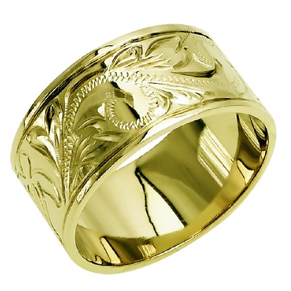 ハワイアンジュエリー リング 指輪 オーダーメイド お手軽な1.0mm厚 幅10mm 14K ゴールド グリーンゴールド フラットリング ハワイ製 手彫りリング メンズ レディース 結婚指輪 マリッジリング ウェディングリング 2号-28号
