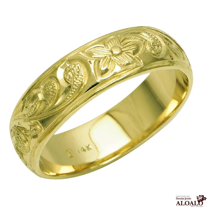 ハワイアンジュエリー リング 指輪 オーダーメイド 1.5mm厚 幅6mm 14K ゴールド グリーンゴールド バレルリング ハワイ製 手彫りリング メンズ レディース 結婚指輪 マリッジリング ウェディングリング 2号-28号