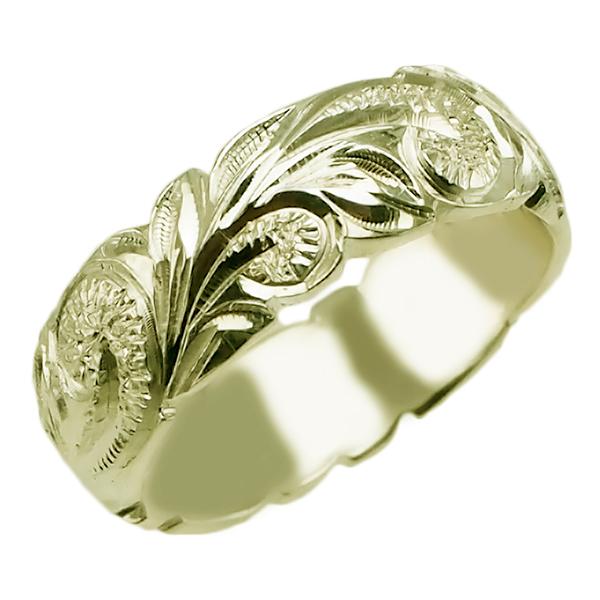 ハワイアンジュエリー リング 指輪 オーダーメイド 重厚な立体感2mm厚 幅6mm 14K ゴールド グリーンゴールド ハワイ製 手彫りリング メンズ レディース 結婚指輪 マリッジリング ウェディングリング 2号-28号 バレルリング