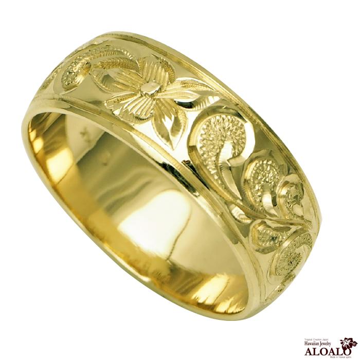 ハワイアンジュエリー リング 指輪 オーダーメイド 1.5mm厚 幅8mm 14K ゴールド グリーンゴールド バレルリング ハワイ製 手彫りリング メンズ レディース 結婚指輪 マリッジリング ウェディングリング 2号-28号