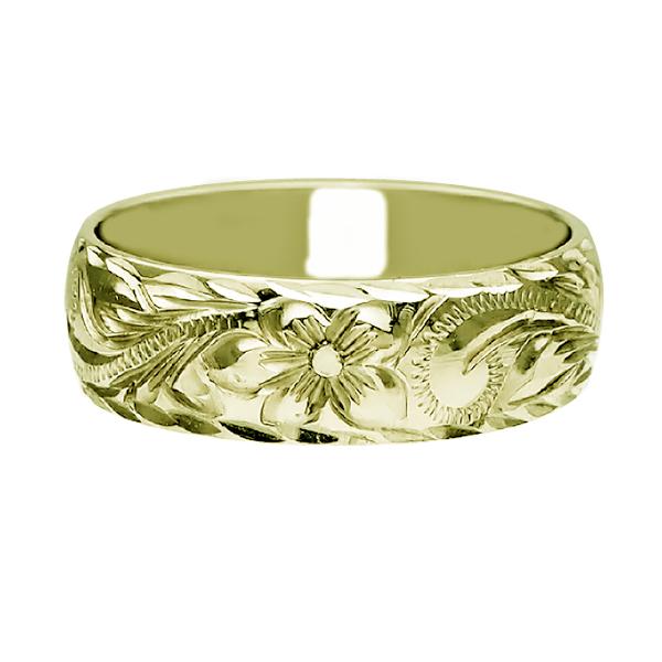 ハワイアンジュエリー リング 指輪 オーダーメイド 重厚な立体感2mm厚 幅6mm 14K ゴールド グリーンゴールド バレルリング ハワイ製 手彫りリング メンズ レディース 結婚指輪 マリッジリング ウェディングリング 2号-28号