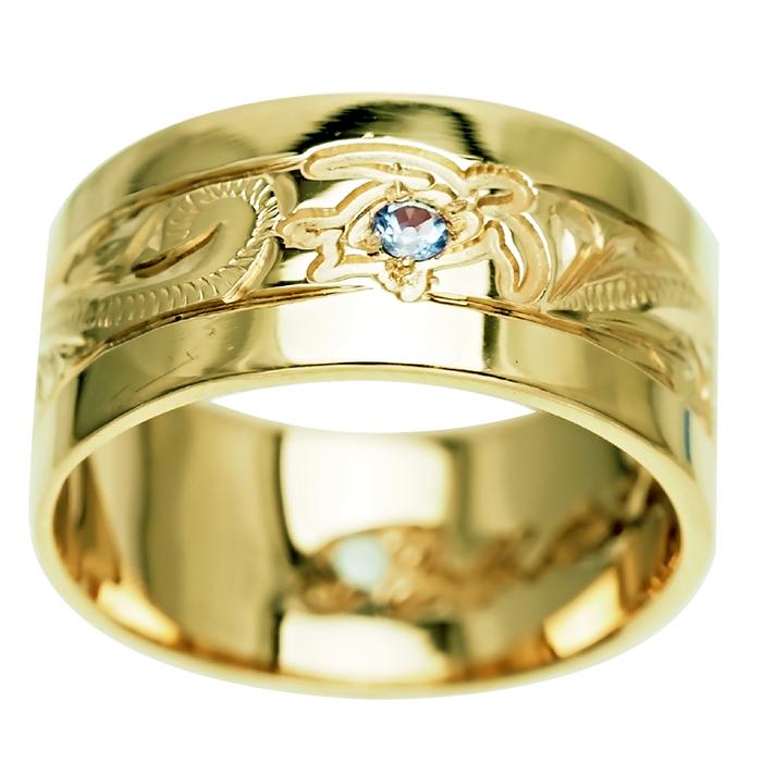 ハワイアンジュエリー リング 指輪 オーダーメイド 重厚な立体感2mm厚 幅10mm 14K ゴールド グリーンゴールド フラットリング ハワイ製 手彫りリング メンズ レディース 結婚指輪 マリッジリング ウェディングリング 2号-28号