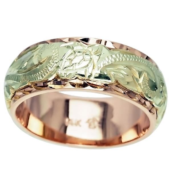 ハワイアンジュエリー リング 指輪 オーダーメイド 幅8mm 14K ゴールド 2トーンリング ハワイ製 手彫りリング メンズ レディース 結婚指輪 マリッジリング ウェディングリング 2号-28号