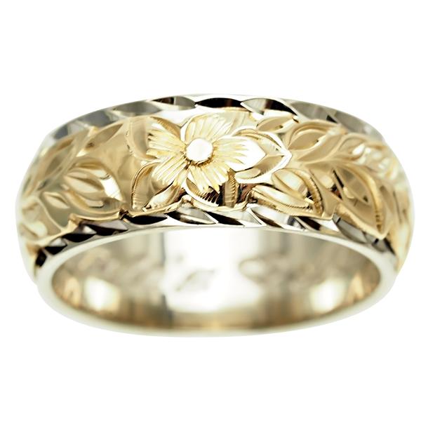 ハワイアンジュエリー リング 指輪 オーダーメイド 幅8mm 14K ゴールド 2トーンリング バレルリング ハワイ製 手彫りリング メンズ レディース 結婚指輪 マリッジリング ウェディングリング 2号-28号