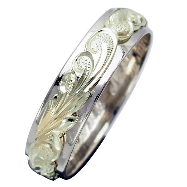 ハワイアンジュエリー リング 指輪 オーダーメイド 幅6mm 14K ゴールド 2トーンリング グリーンホワイトゴールド バレルリング ハワイ製 手彫りリング メンズ レディース 結婚指輪 マリッジリング ウェディングリング 2号-28号