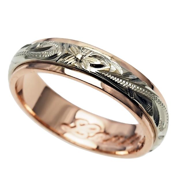 ハワイアンジュエリー リング 指輪 オーダーメイド 幅6mm 14K ゴールド 2トーンリング ピンクホワイトゴールド ハワイ製 手彫りリング メンズ レディース 結婚指輪 マリッジリング ウェディングリング 2号-28号