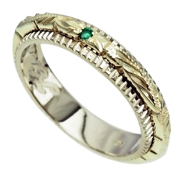 ハワイアンジュエリー リング 指輪 オーダーメイド 幅4mm デザイン幅2mmの細めで繊細な2トーンリング ハワイ製 手彫りリング メンズ レディース 結婚指輪 マリッジリング ウェディングリング 2号-28号