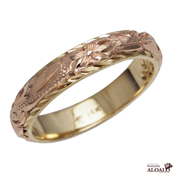 ハワイアンジュエリー リング 指輪 オーダーメイド 幅4mm デザイン幅3mmの細めで繊細な2トーンリング ハワイ製 手彫りリング メンズ レディース
