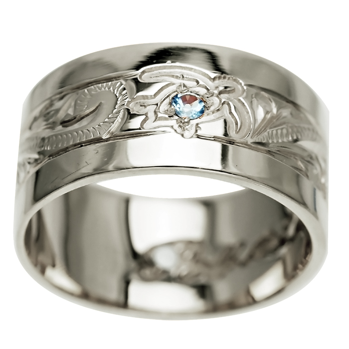 ハワイアンジュエリー リング 指輪 オーダーメイド 2.0mm厚 幅10mm フラットリング メンズ レディース シルバー925 ハワイ製 手彫りリング 0号-28号