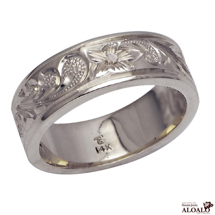 ハワイアンジュエリー リング 指輪 オーダーメイド 2.0mm厚 幅6mm スターリングシルバー925 フラットリング ハワイ製 手彫りリング メンズ レディース