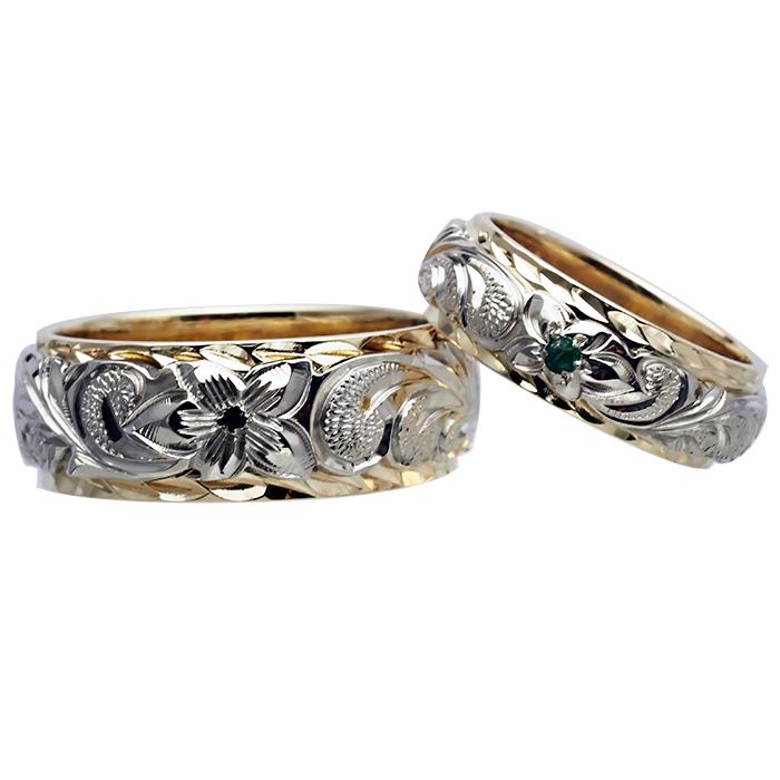 ハワイアンジュエリー リング 指輪 オーダーメイド 14金2トーン オーダーメイド ペアリング特価セット! 8mmと6mm幅 2.0mmしっかりした厚み ハワイ製 手彫りリング メンズ レディース 結婚指輪 マリッジリング ウェディングリング 2号-28号