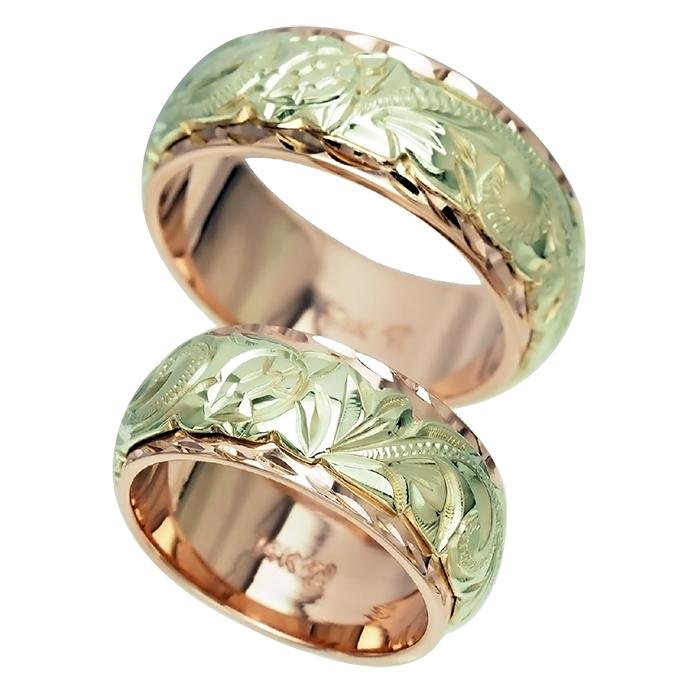 ハワイアンジュエリー リング 指輪 オーダーメイド 14金2トーン オーダーメイド ペアリング特価セット! 8mmと8mm幅 2.0mmしっかりした厚み ハワイ製 手彫りリング メンズ レディース 結婚指輪 マリッジリング ウェディングリング 2号-28号