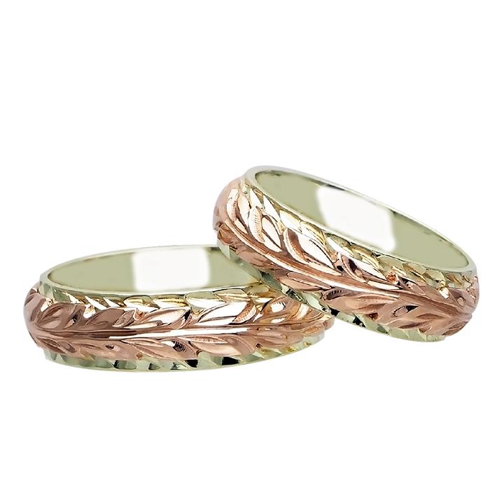 ハワイアンジュエリー リング 指輪 オーダーメイド 14金2トーン オーダーメイド ペアリング特価セット! 6mmと6mm幅 2.25mmしっかりした厚み ハワイ製 手彫りリング メンズ レディース 結婚指輪 マリッジリング ウェディングリング 2号-28号