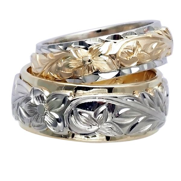 ハワイアンジュエリー リング 指輪 オーダーメイド 14金2トーン オーダーメイド ペアリング特価セット! 8mmと6mm幅 2.25mmしっかりした厚み ハワイ製 手彫りリング メンズ レディース 結婚指輪 マリッジリング ウェディングリング 2号-28号