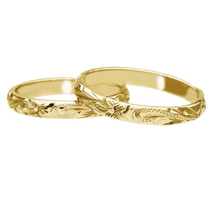 ハワイアンジュエリー リング 指輪 オーダーメイド 14金バレル オーダーメイド ペアリング特価セット! 3mm幅 1.5mm基本の厚み ハワイ製 手彫りリング メンズ レディース 結婚指輪 マリッジリング ウェディングリング 2号-28号