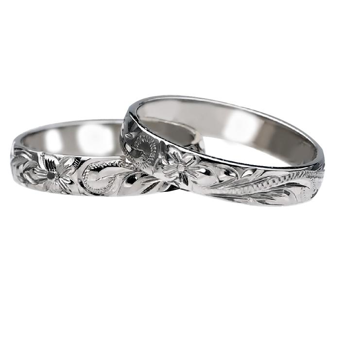 ハワイアンジュエリー リング 指輪 オーダーメイド シルバー バレル オーダーメイド ペアリング特価セット! 4mm幅 1.75mmしっかりした厚み ハワイ製 手彫りリング メンズ レディース 結婚指輪 マリッジリング ウェディングリング 2号-28号
