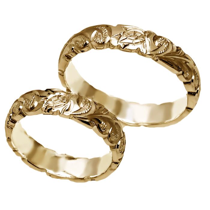 ハワイアンジュエリー リング 指輪 オーダーメイド 14金バレル オーダーメイド ペアリング特価セット! 4mm幅 1.75mmしっかりした厚み ハワイ製 手彫りリング メンズ レディース 結婚指輪 マリッジリング ウェディングリング 2号-28号