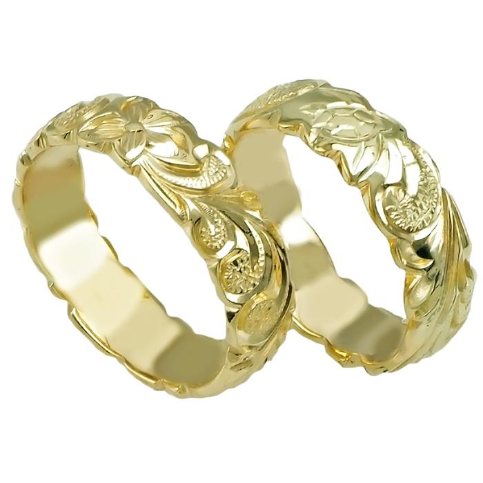 ハワイアンジュエリー リング 指輪 オーダーメイド 14金バレル オーダーメイド ペアリング特価セット! 6mm幅 2.0mm重厚で上質 ハワイ製 手彫りリング メンズ レディース 結婚指輪 マリッジリング ウェディングリング 2号-28号